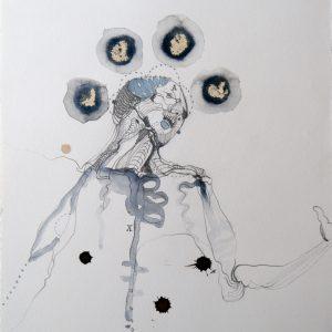 15.Vesalius studie, gem. techniek op papier, 33 X 25 cm, 2013