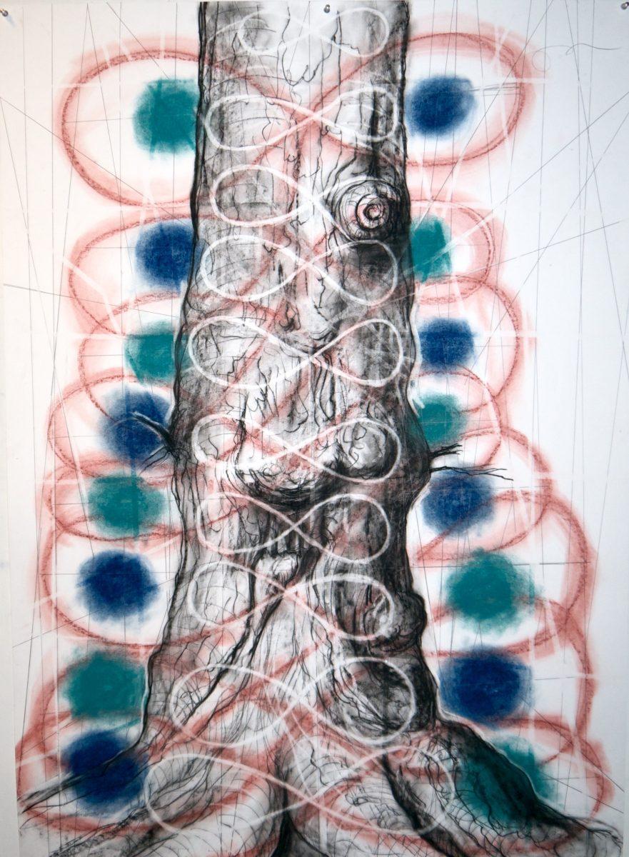 9. Boom, gem. techniek op papier, 140 X 100 cm, 2018